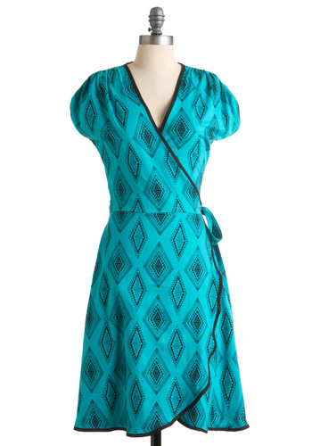Westward Travels Dress - Black, Print, Casual, Wrap, Short Sleeves, Spring, Green, Long