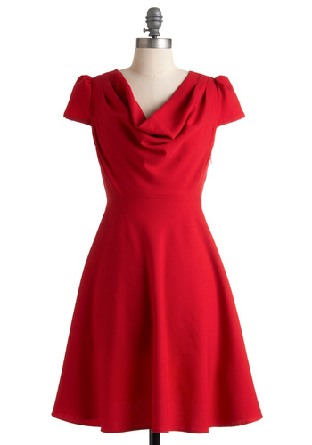 Gondola Engagement Dress - Red, Solid, Buttons, A-line, Cap Sleeves, Wedding, Party, Fall, International Designer, Mid-length