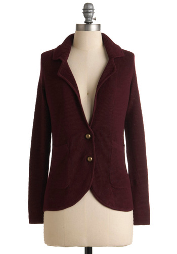 Oh, Boysenberry Blazer - Red, Solid, Buttons, Knitted, Pockets, Casual, Long Sleeve, Fall, Winter, Short, Menswear Inspired, 1.5, Press Placement