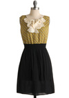 Flutter of Butterflies Dress - Tan / Cream, Print, Casual, A-line, Sleeveless, Fall, Mid-length, Yellow, Black, Sheer