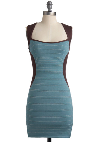 Sweet Compli-mints Dress - Blue, Brown, Solid, Cutout, Party, Mini, Shift, Sleeveless, Short