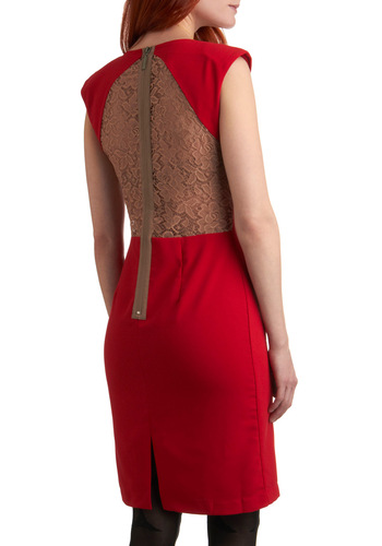 Take It to the Banquet Dress - Red, Tan / Cream, Solid, Cutout, Exposed zipper, Lace, Shift, Sleeveless, Party, Mid-length, Summer, Backless
