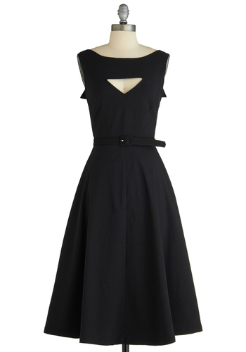 The Evening Unfolds Dress in Black by Tatyana - Black, White, Solid, Buttons, Cutout, A-line, Sleeveless, Party, Pinup, 50s, Belted, Cocktail, Fit & Flare, Long, Vintage Inspired, 40s, LBD