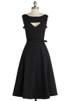 The Evening Unfolds Dress in Black by Bettie Page - Black, White, Solid, Buttons, Cutout, A-line, Sleeveless, Party, Pinup, 50s, Belted, Cocktail, Fit & Flare, Long, Vintage Inspired, 40s, Top Rated