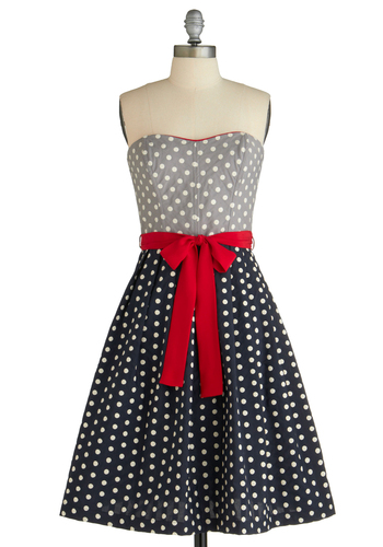 Oh What Fun Dress by Corey Lynn Calter - Red, White, Polka Dots, Bows, Trim, A-line, Strapless, Pockets, Party, 50s, Rockabilly, Pinup, Long, Multi, Blue, Grey, Nautical, Spring, Print