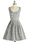 Snow Wonder Dress by Corey Lynn Calter - Mid-length, White, Pleats, Pockets, A-line, Tank top (2 thick straps), Silver, Polka Dots, Party, Fit & Flare, Exclusives, Winter