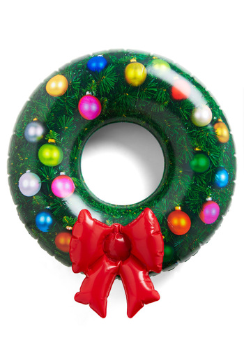 Jolly in a Jiff Inflatable Wreath - Green, Red, Orange, Yellow, Blue, White, Silver, Novelty Print, Bows, Pink, Dorm Decor