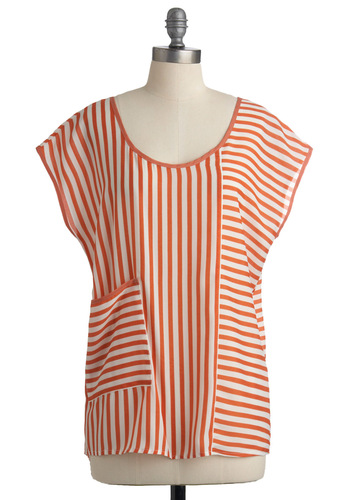 Entrepreneurial Artist Top - Orange, White, Stripes, Pockets, Casual, Cap Sleeves, Summer, Mid-length