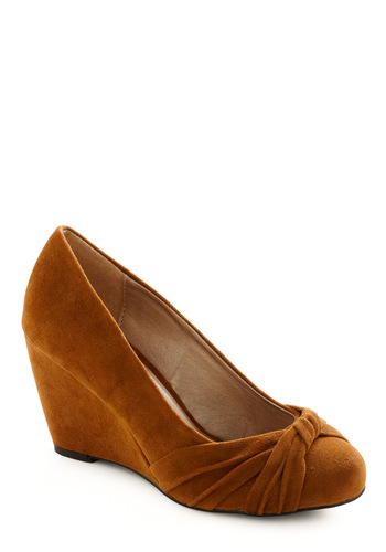 Uptown Twirl Wedge - Orange, Solid, Bows, Copper, Work, Fall, Wedge