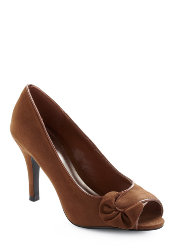 Fudge Fountain Heel - Brown, Solid, Bows, Work