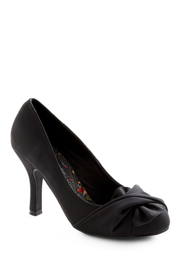 Like It or Knot Heel in Black - Black, Solid, Bows, Party, Fall, Winter