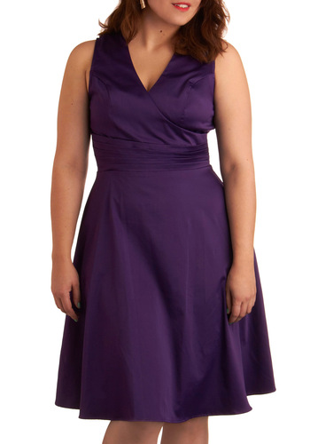 Beguiling Beauty Dress in Purple - Plus Size - Purple, Solid, Pleats, A-line, Sleeveless, Wedding, Party, Summer, Long