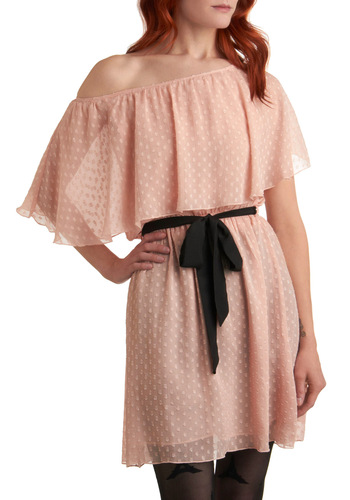 Apricot Affection Dress - Pink, Black, Polka Dots, Bows, Ruffles, Party, A-line, Short Sleeves, Spring, Mid-length