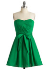 Zest is More Dress in Green - Green, Solid, A-line, Strapless, Summer, Mid-length, Belted, Daytime Party, Best Seller, Fit & Flare, Sweetheart