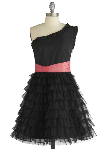 Sample 1259 - Black, Pink, Solid, Pleats, Ruffles, Ballerina / Tutu, One Shoulder