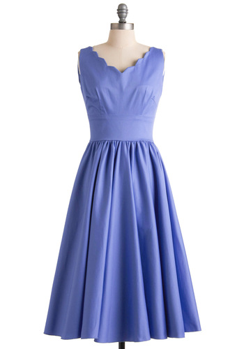 Periwinkle and a Smile Dress - Blue, Solid, Scallops, Wedding, A-line, Sleeveless, Spring, Long