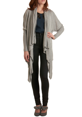 Cozy Cascade Cardigan - Grey, Solid, Handkerchief, Knitted, Casual, Long Sleeve, Fall, Mid-length