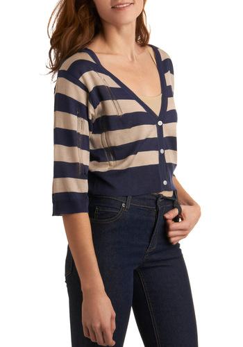 On the Cute Edge Cardigan - Blue, Tan / Cream, Stripes, Casual, 3/4 Sleeve, Fall, Short