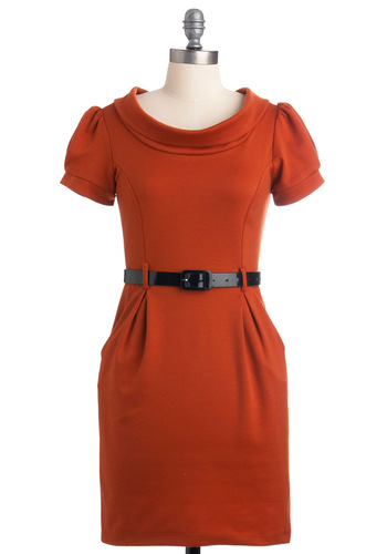 The Spice is Right Dress - Orange, Black, Solid, Pleats, Pockets, Casual, Shift, Short Sleeves, Fall, Short