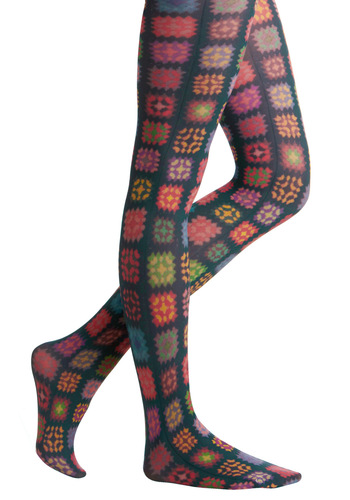 Closer Look Tights - Multi, Print, Casual, 80s