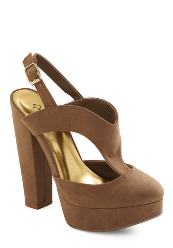 Kicks and Match Heel in Taupe - Tan, Solid, High, Good, T-Strap