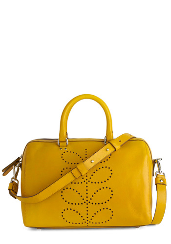 Orla Kiely All A-sprout Town Bag - Yellow, Solid, International Designer