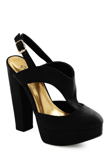 Kicks and Match Heel in Black - Black, Solid, High, Good, Slingback, T-Strap