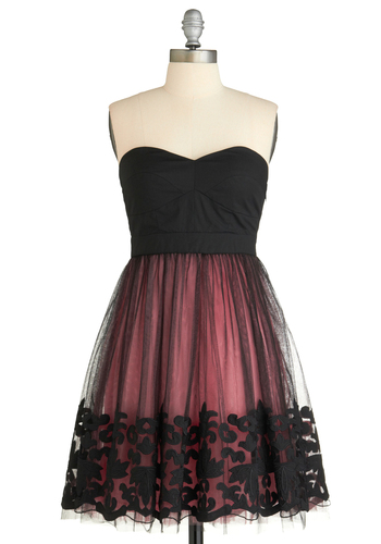 Midnight Blush Dress - Black, Pink, Solid, Embroidery, Lace, Tiered, Formal, Wedding, Party, A-line, Strapless, Fall, Prom, Short