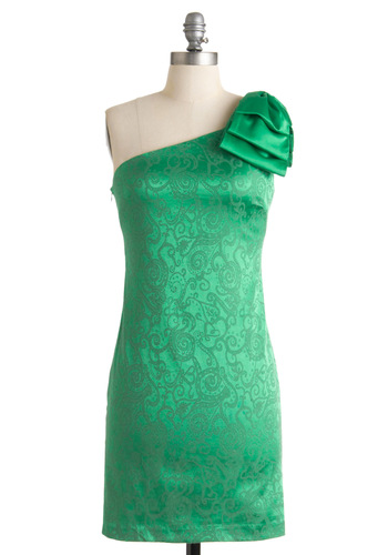 Dublin or Nothing Dress - Green, Paisley, Bows, Party, Shift, One Shoulder, Summer, Short