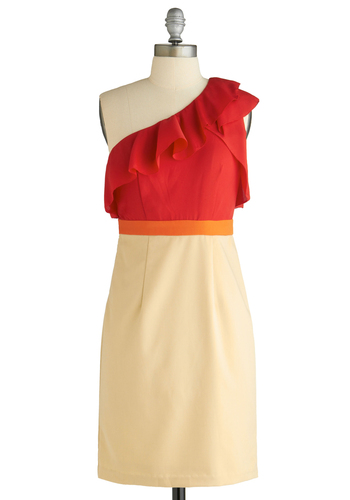Sample 1258 - Cream, Red, Orange, Ruffles, Sheath / Shift, One Shoulder