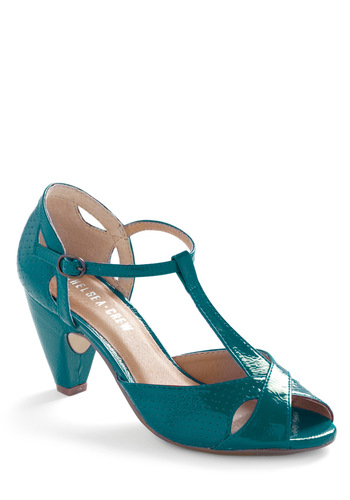 Hot for Hemlock Heel in Cerulean by Chelsea Crew - Blue, Solid, Cutout, Variation, Mid, Leather