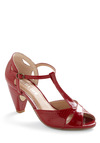Hot for Hemlock Heel in Crimson by Chelsea Crew - Red, Solid, Cutout, 20s, Variation, Mid, Leather