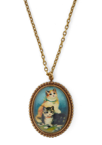 Paws-itively Purr-fect Necklace - Multi, Gold, Orange, Green, Blue, Black, White, Print with Animals, Chain