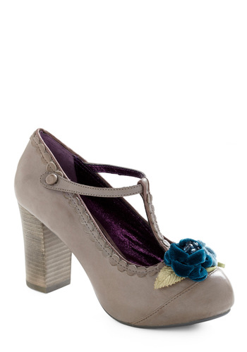 To Grandmother's House We Toe Heel in Grey by Poetic License - Grey, Blue, Solid, Beads, Flower