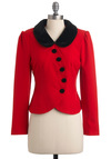Perfectly on Poinsettia Jacket - Red, Black, Solid, Buttons, Peter Pan Collar, Party, Long Sleeve, Winter, Short, Vintage Inspired, 20s, 30s, 1.5