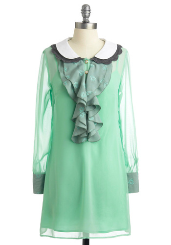 Prism-ner of the Heart Dress - Green, Grey, White, Solid, Peter Pan Collar, Ruffles, Scallops, Party, Shift, Long Sleeve, Spring, Fall, Short, International Designer