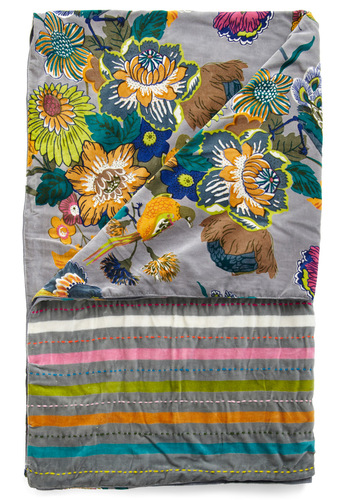 Fowl Play Throw Blanket by Karma Living - Multi, Green, Blue, Pink, Gold, Floral, Grey, Stripes, Winter, Dorm Decor