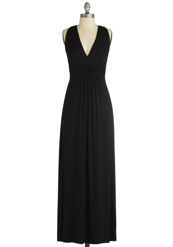 Holiday in Paradise Dress - Long, Black, Solid, Party, Empire, Maxi, Summer, Jersey, Sleeveless, V Neck, Daytime Party, Beach/Resort, Top Rated