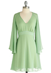 Wending the Shore Dress - Mid-length, Green, Solid, Party, A-line, Long Sleeve, Exclusives, Wedding, Pastel, Sheer, V Neck