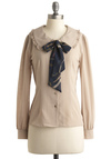 Lady on Lexington Top by Miss Patina - Blue, Bows, Long Sleeve, Work, Spring, Fall, Winter, Mid-length, Cream, Solid