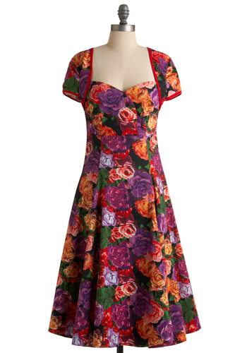 Bloominescent Dress - Long, Multi, Black, Floral, A-line, Orange, Green, Party, Vintage Inspired, Cap Sleeves, Red, Purple