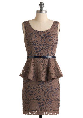Penchant for Elegance Dress - Mid-length, Brown, Blue, Floral, Buckles, Lace, Ruffles, Sheath / Shift, Sleeveless, Party, 80s, Fall