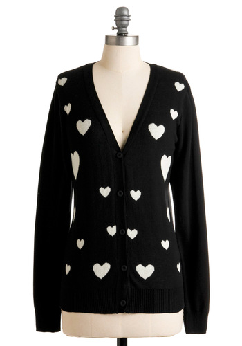 Heart-ly Contain Myself Cardigan - Black, White, Buttons, Long Sleeve, Novelty Print, Casual, Fall, Winter, Mid-length