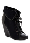 Spiced Cider Bootie in Black - Black, Solid, Winter, Wedge
