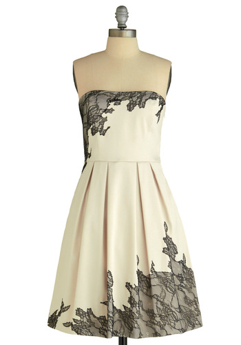 Exquisitely Edgy Dress - White, Black, Floral, Pleats, A-line, Strapless, Special Occasion, Wedding, Party, Vintage Inspired, Lace, Mid-length