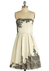 Exquisitely Edgy Dress by Max and Cleo - White, Black, Floral, Pleats, A-line, Strapless, Special Occasion, Wedding, Party, Vintage Inspired, Lace, Mid-length
