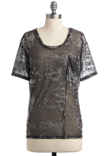 Take Style by Storm Top - Grey, Casual, Short Sleeves, Summer, Mid-length