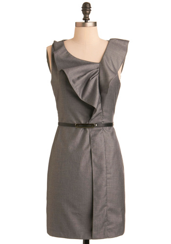Special Agent Dress - Mid-length, Grey, Solid, Ruffles, Shift, Sleeveless, Fall, Party