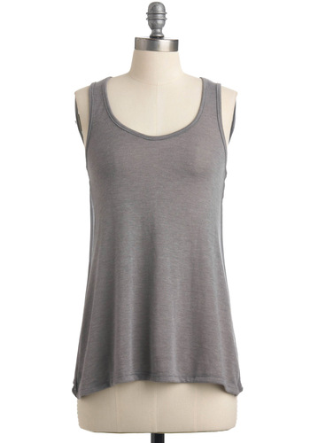 Dash of Pepper Tank - Mid-length, Grey, Tank top (2 thick straps), Solid, Casual