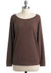 Cuddle Closer Top - Fall, Brown, Long Sleeve, Solid, Casual, Mid-length